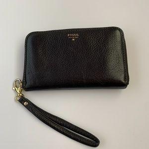 Fossil Black Leather Wristlet Wallet